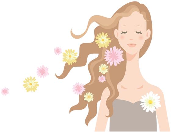 自然乾燥で髪を綺麗にする女性